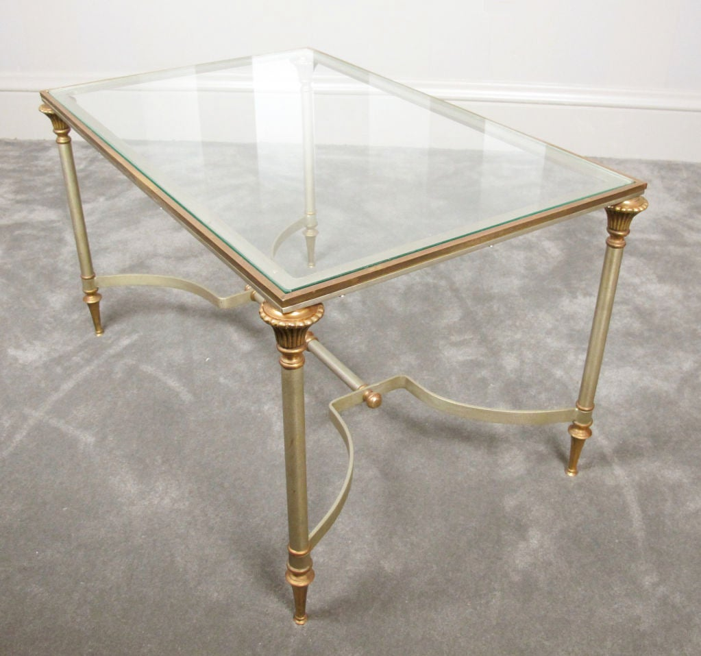 Maison Jansen Style Brass and Steel Coffee Table 7