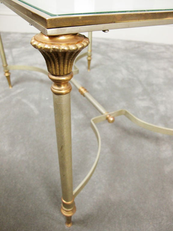 Maison Jansen Style Brass and Steel Coffee Table 8