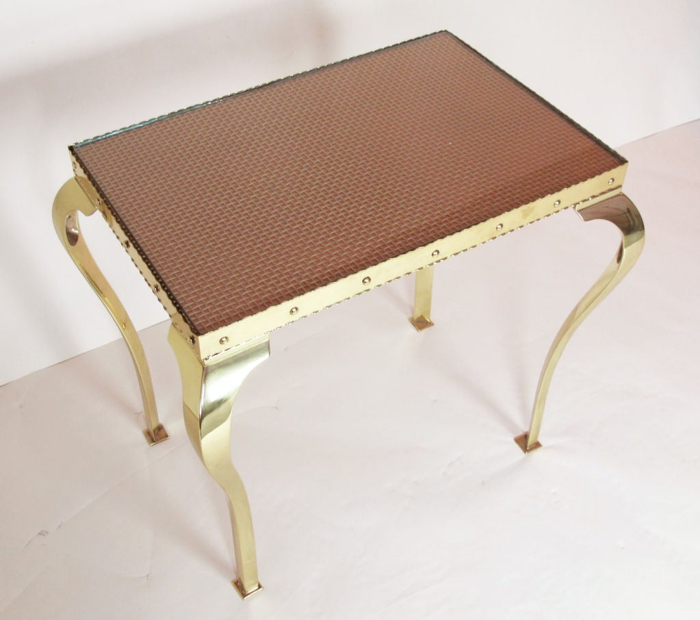 Pair of Elegant Brass Tables with Cabriole Legs For Sale 6