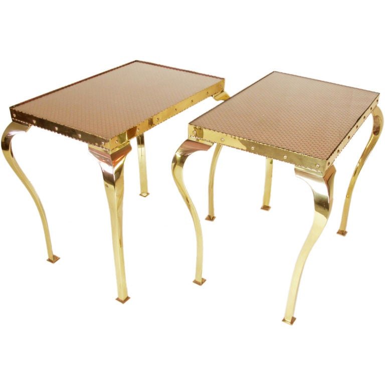 Pair of Elegant Brass Tables with Cabriole Legs For Sale