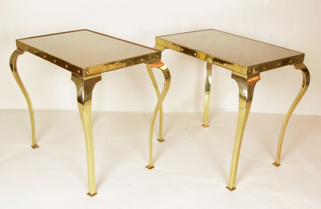 Pair of Elegant Brass Tables with Cabriole Legs In Excellent Condition For Sale In San Francisco, CA
