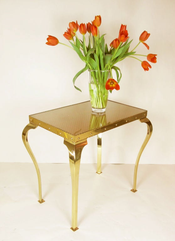 20th Century Pair of Elegant Brass Tables with Cabriole Legs For Sale