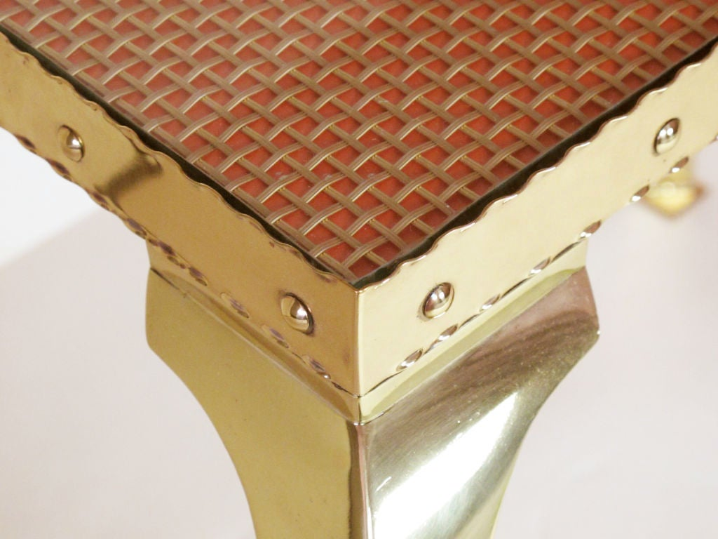 Pair of Elegant Brass Tables with Cabriole Legs For Sale 1