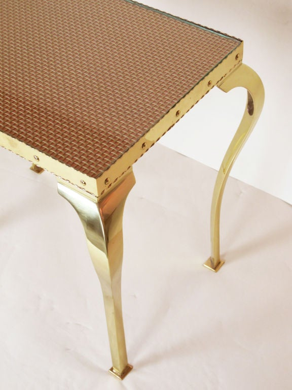 Pair of Elegant Brass Tables with Cabriole Legs For Sale 2