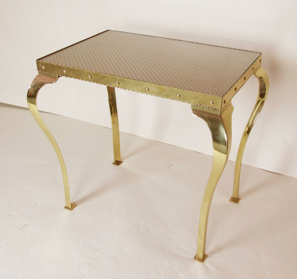 Pair of Elegant Brass Tables with Cabriole Legs For Sale 3