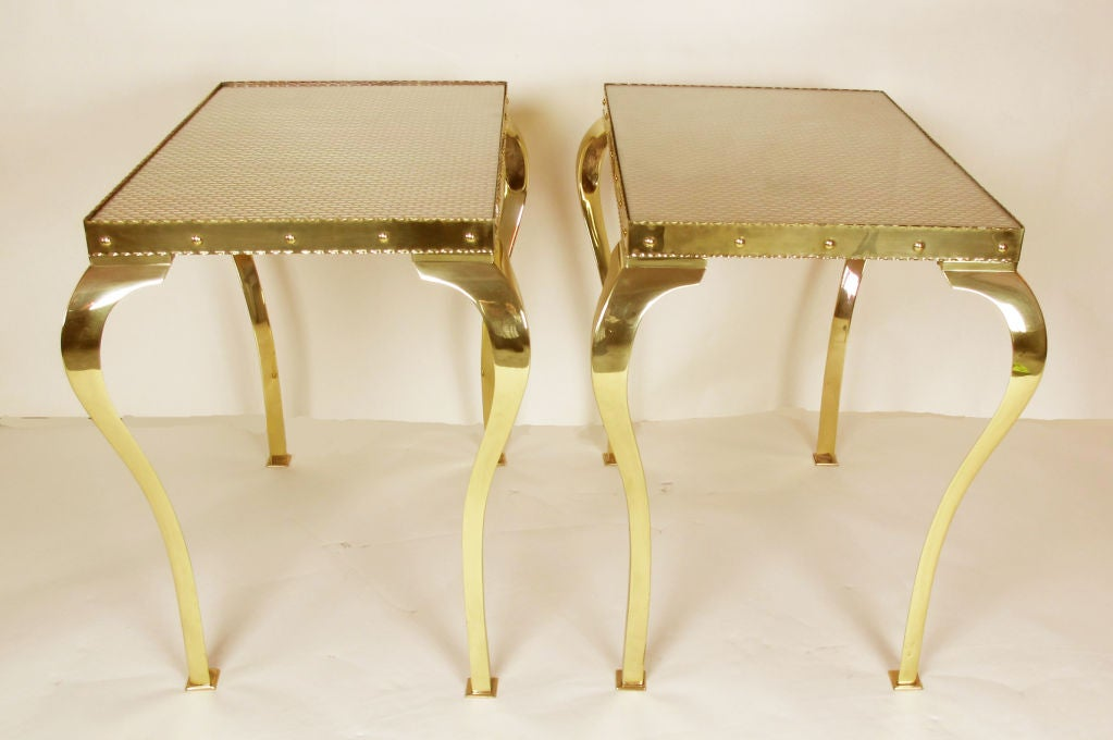 Pair of Elegant Brass Tables with Cabriole Legs For Sale 5