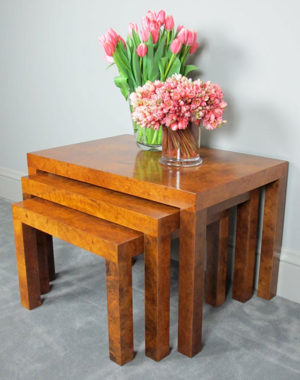 American Burl Nesting Tables Designed by Milo Baughman for Directional For Sale