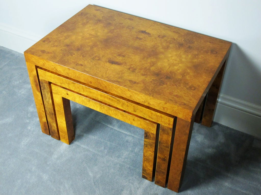 20th Century Burl Nesting Tables Designed by Milo Baughman for Directional For Sale