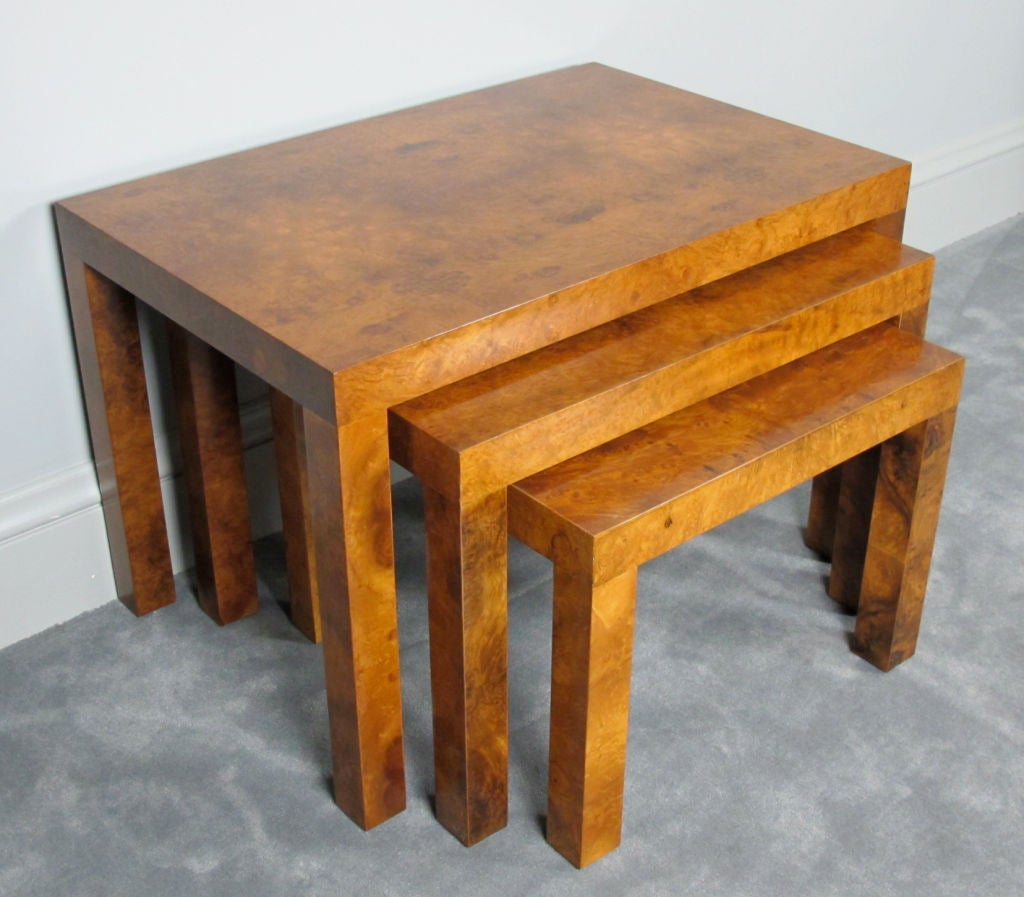 Burl Nesting Tables Designed by Milo Baughman for Directional For Sale 2