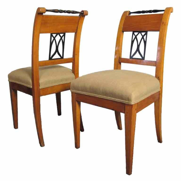 Exceptional Pair Biedermeier Side Or Dining Chairs 1