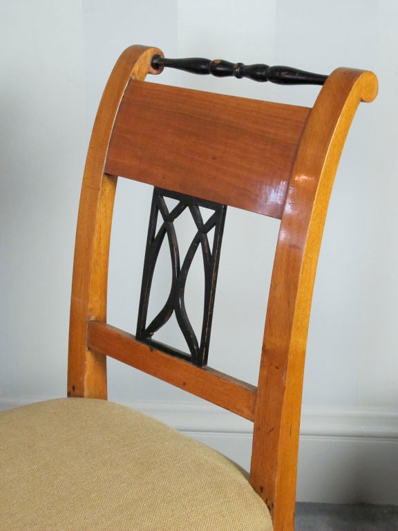 19th Century Pair Biedermeier Side or Dining Chairs For Sale