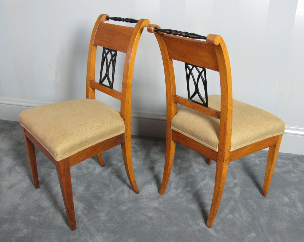 Pair Biedermeier Side or Dining Chairs For Sale 4