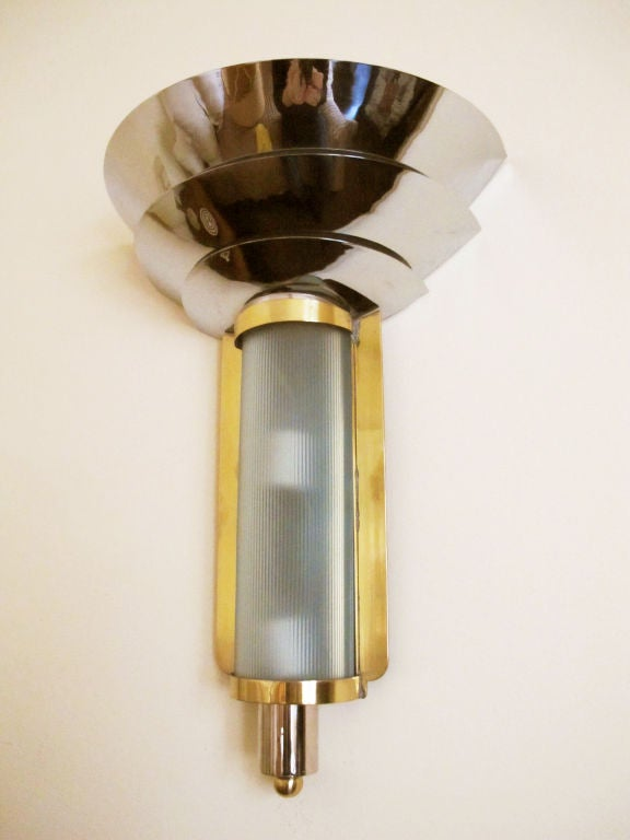 Art Deco Brass Wall Sconces : Art Deco Brass and Nickel Wall Sconce For Sale at 1stdibs
