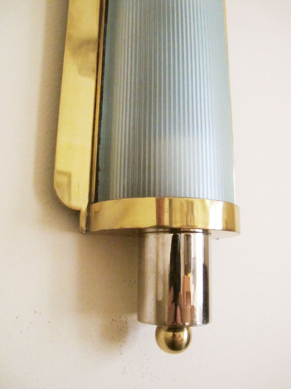 Art Deco Brass and Nickel Wall Sconce For Sale at 1stdibs