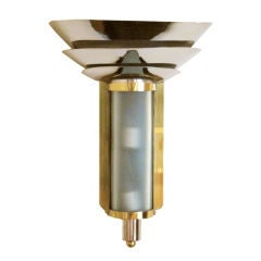 Art Deco Brass and Nickel Wall Sconce