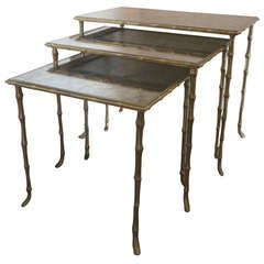 Faux Bamboo Maison Bagues Nesting Tables
