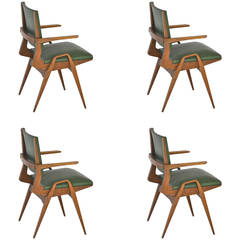 Set of Four Italian chairs atributed to Carlo de Carli