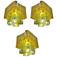 Set of 3 Chandeliers by Toso Murano