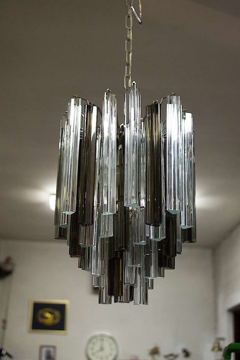 Smoke And Clear Glass Chandelier By Veninni At 1stdibs