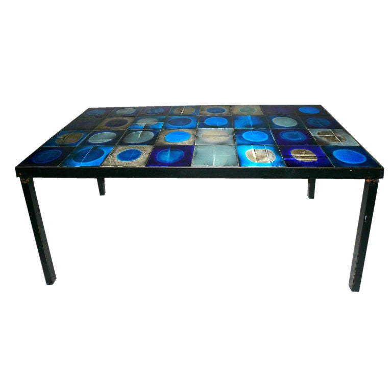 Tile Coffee Table Set: Tile Top Coffee Table With A Metal Base At 1stdibs