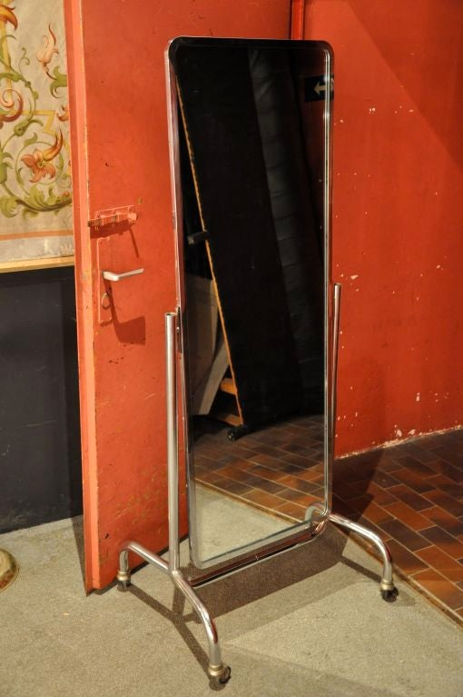 A 1930 nickel standing mirror at 1stdibs for 6 foot floor mirror