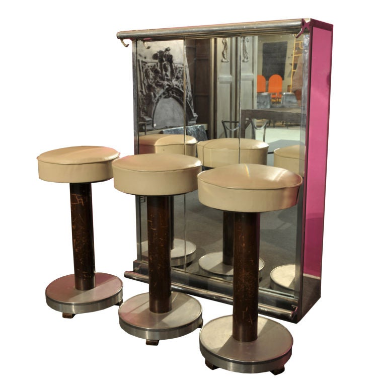 An Art Deco Dry Bar Cabinet With 3 Stools At 1stdibs