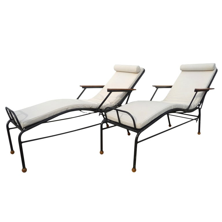 Pair of chaises longues chairs by jean prouv at 1stdibs for Chaise jean prouve