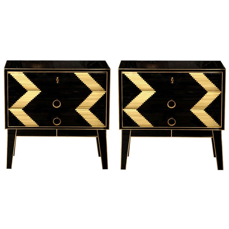 Pair Of Commodes All In Mirror With Three Drawers At 1stdibs