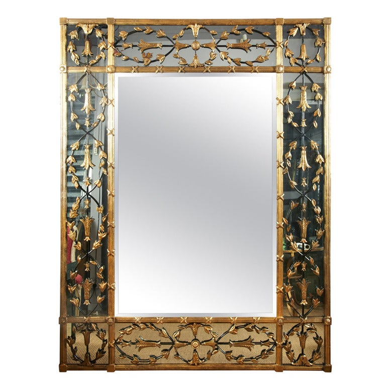 Huge mirror surroundings with wrought iron and wood at for Wrought iron mirror