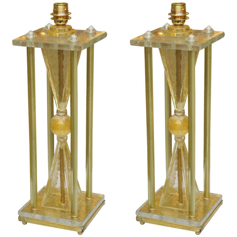 pair of table lamps in murano glass for sale at 1stdibs