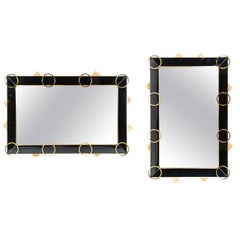 Mirror with Black Glass and Brass Trim