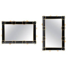 Pair of Mirrors with Black Glass and Brass Trim