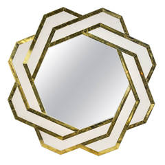 Pair of Mirrors with Colored Glass and Brass