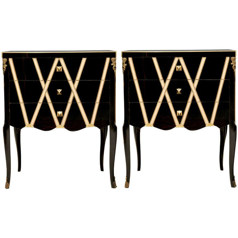 Pair Of Commodes With Three Drawers In Mirror At 1stdibs
