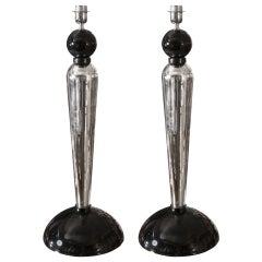 Pair of Table Lamps in Murano Glass and Mirror