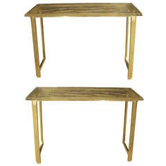 Pair of console tables in Murano glass.