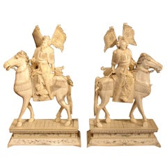 A Pair of Chinese Carved Ivory Warriors on Horseback