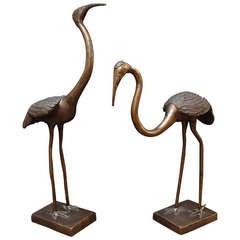 Pair of Chinese Bronze Cranes