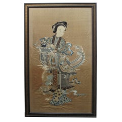 A Large Framed Chinese Silk Embroidery of the Female Immortal He