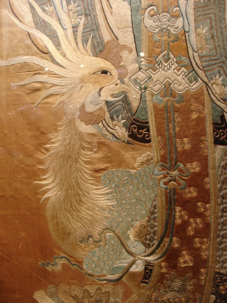 A Large Framed Chinese Silk Embroidery Of The Female Immortal He At 1stdibs