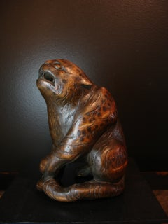 Japanese Carved Bamboo Okimono of a Tiger, Signed Ippo