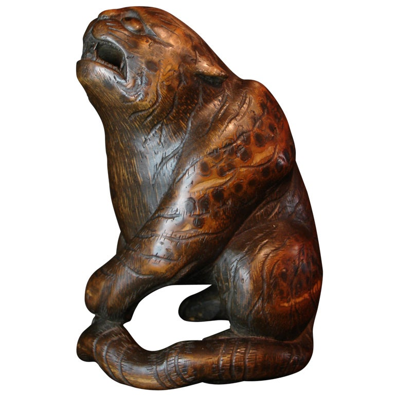 Japanese Carved Bamboo Okimono of a Tiger, Signed Ippo For Sale