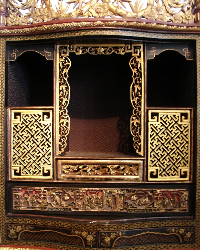 A Japanese Export Lacquer Cabinet On Peranakan Gilt Stand 2