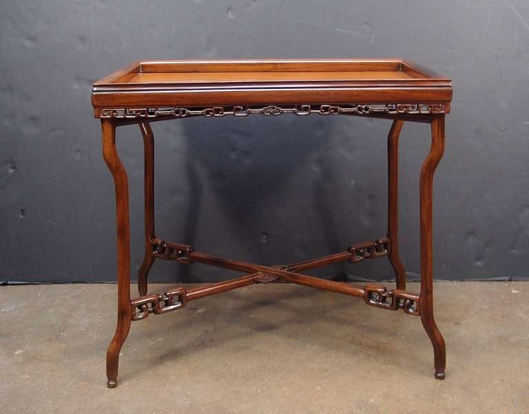 Hand-Carved 19th Century Chinese Export Hardwood Folding Tray Table For Sale