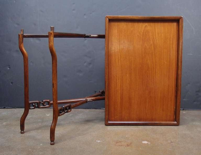 19th Century Chinese Export Hardwood Folding Tray Table In Good Condition For Sale In Austin, TX