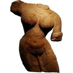 Indian Carved Pink Sandstone Torso of a Female Deity, Madhya Pradesh