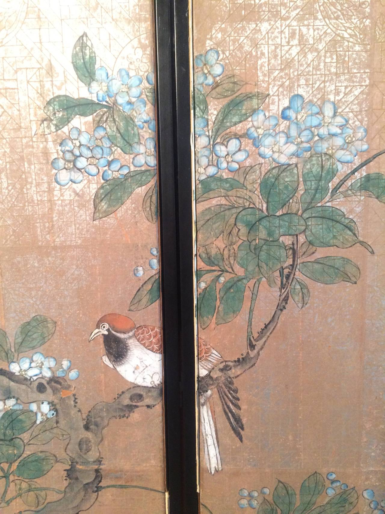 Four Framed Vintage Gracie Chinoiserie Wallpaper Panels At