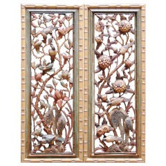 A Pair of Chinese Carved and Pierced Polychromed Panels