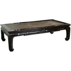 Large Chinese Lacquer and Rattan Day Bed