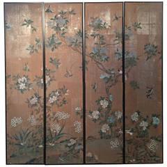 Four Framed Vintage Gracie Chinoiserie Wallpaper Panels